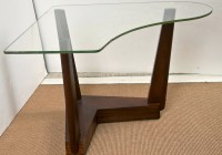 Wood Side Table With Glass Top