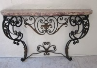 Wrought Iron Console Table With Marble Top